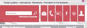 Agrandir (Nouvelle fenêtre). 6 icônes blanches sur fond rouge:  une enveloppe, un combiné de téléphone, un PC en réseau, un F, un panier et un buste en silhouette.