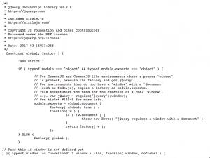 Agrandir (nouvelle fenêtre). Début de fichier de la librairie jQuery avec commentaires et indentations