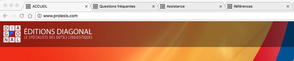 Capture d'écran du navigateur avec 3 onglets ouvert sur 4 pages du même site . Chaque onglet affiche l'icone de favori du site et un titre, successivement: ACCUEIL, Questions fréquentes, Assistance et Références.