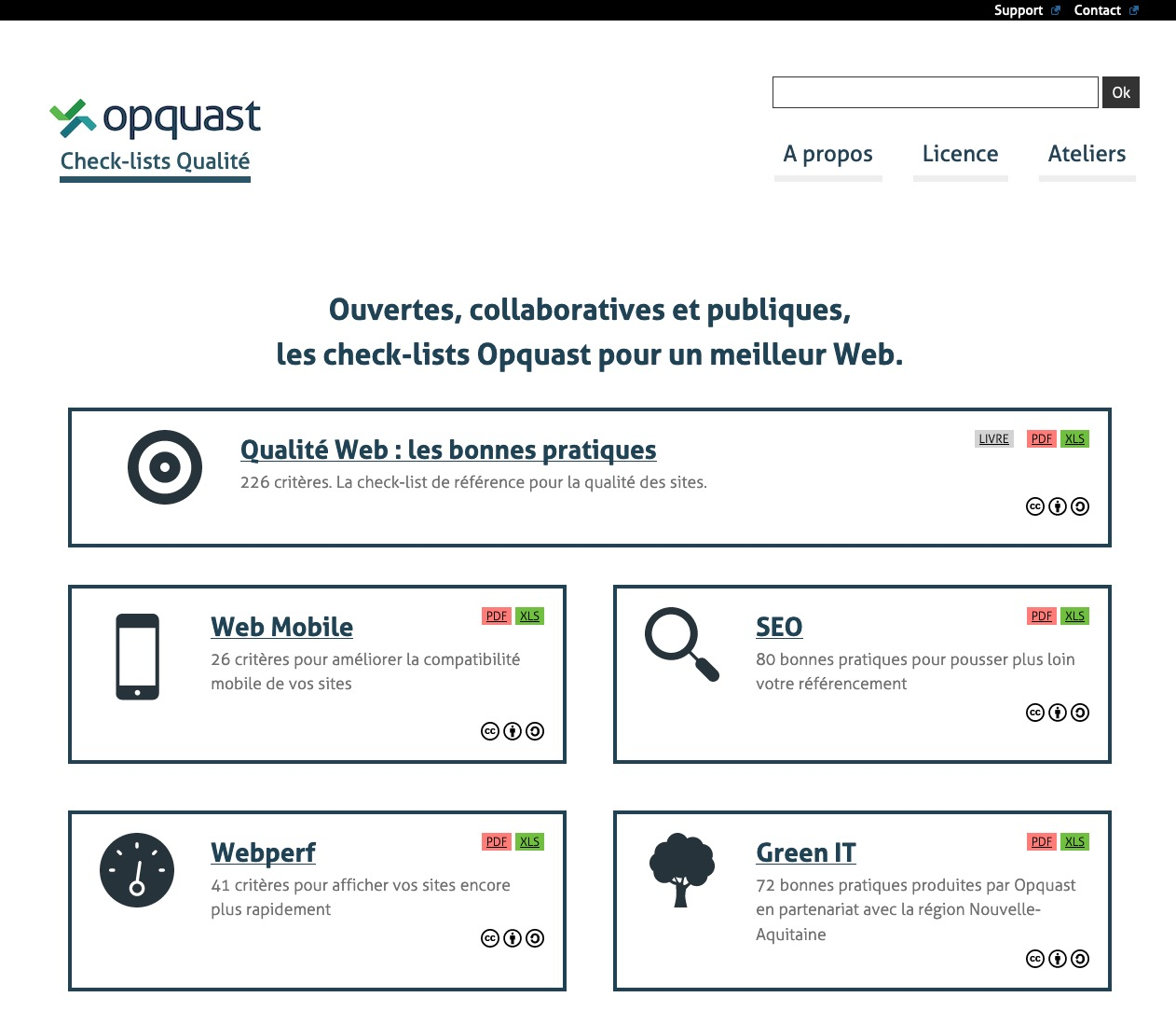 Capture de la home de Opquast
