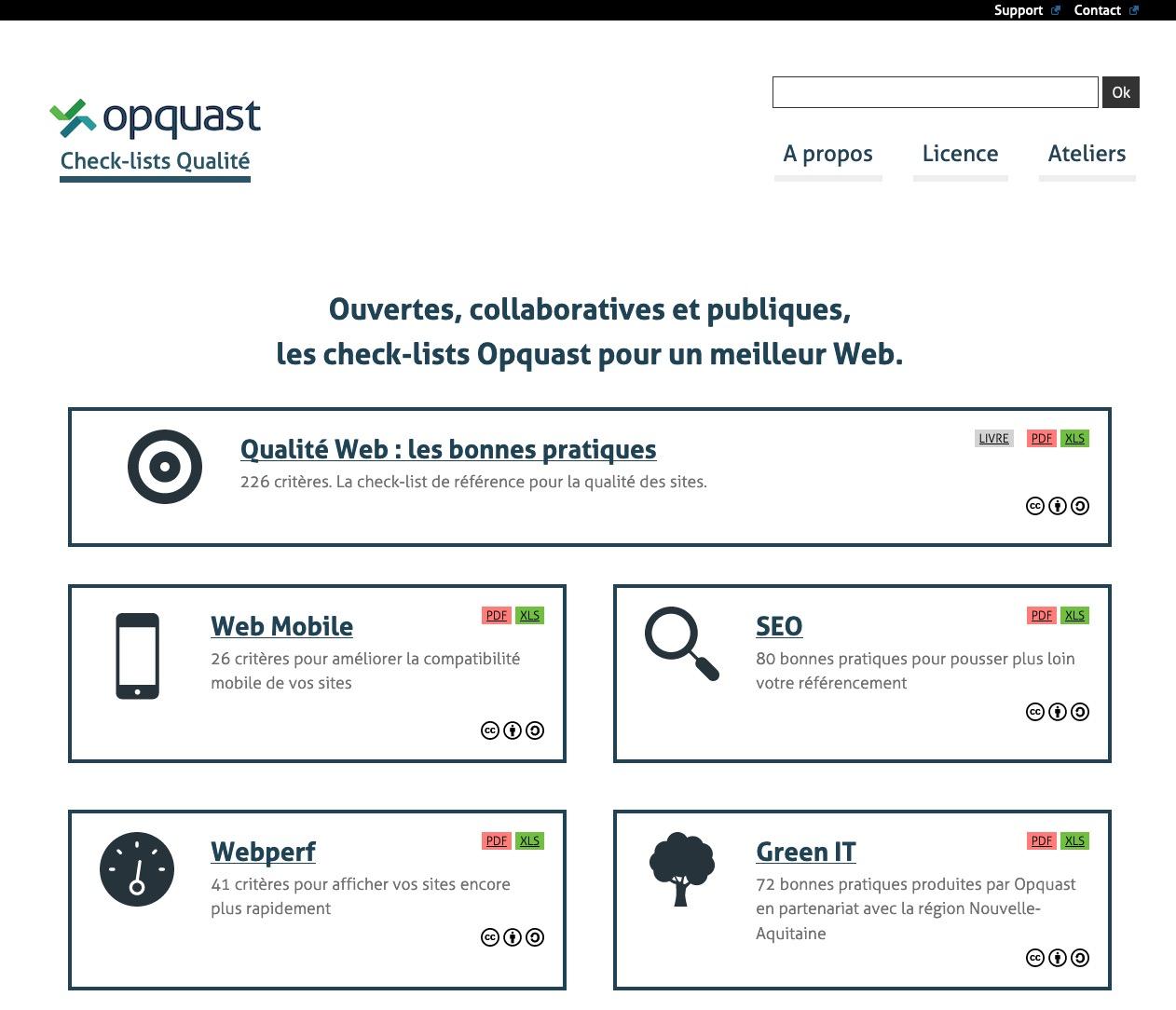 Capture de la home de Opquast