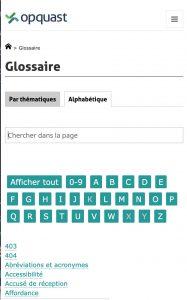 Ecran glossaire avec 2 onglets et un champ de recherche libre