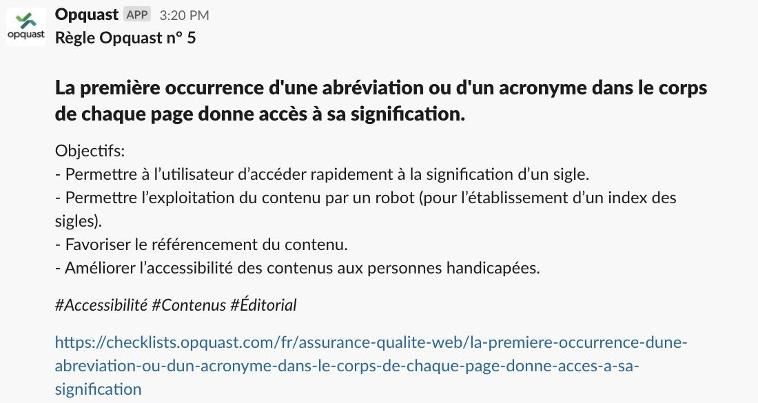 Slack message with the content of rule #5 in French