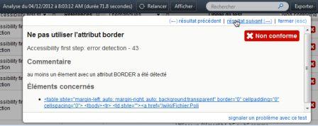 Exemple de fenêtre modale de navigation dans les résultats d'une check-list
