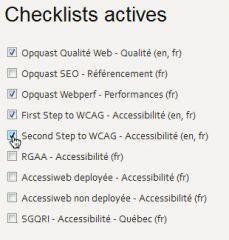 Choix des listes à utiliser dans Opquast Desktop