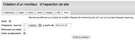 Capture d'écran de l'activation de la fonctionnalité monitoring
