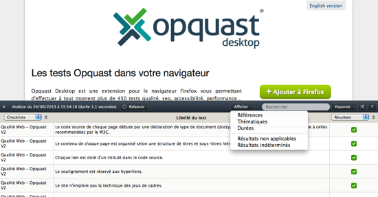 Capture Opquast desktop 0.7.6