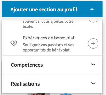 Capture des sections de modification de profil