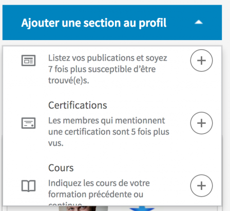 Capture du bouton de modification de profil - compétences